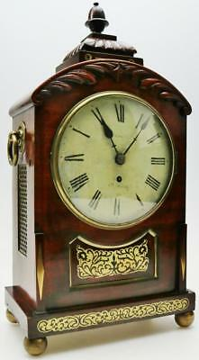 Antique 19thC English Single Fusee Carved Arched Top Mahogany 8Day Bracket Clock