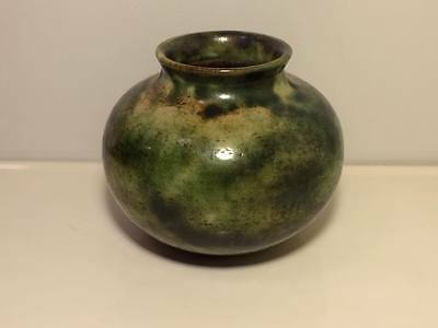 Antique signed Japanese green pottery vase copper tone ?