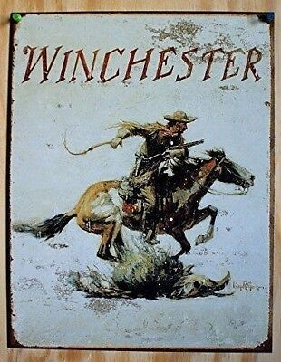Winchester Cowboy Gun Horse Rustic Vintage Metal Tin Sign Picture Western Decor