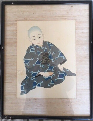 "Paul Jacoulet  - KIYOSHI ""Tokio"" Signed print, Original, watermarked."