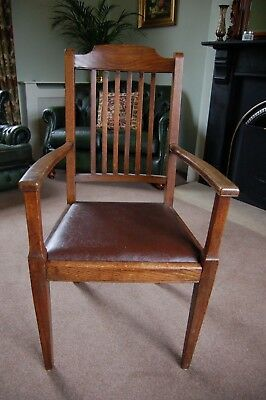 Solid Oak Carver, vintage high seat oak arm chair, drop in seat