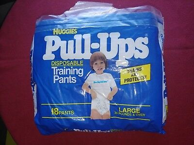 Vintage Huggies Diapers Pull Ups Package 1988 80's Large size Opened RARE!!!!!!!