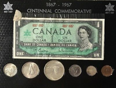 1967 Canadian Centennial Commemorative Coin Set With Dollar Bill