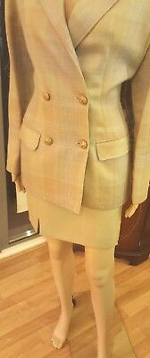 Stunning Gioffré, designer,light tweed double-breasted mini-skirt suit-IT44,UK12