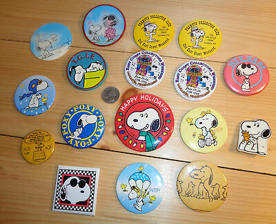 Vintage Lot Of 17 Peanuts Pin Back Buttons Charlie Brown Snoopy Lucy Spike