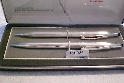 Cross Century Sterling Silver Pen and Pencil Set, Excellent Condition