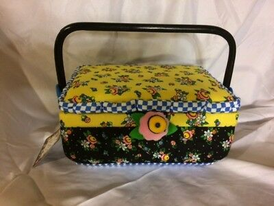 Mary Engelbreit Fabric Collectible Hinged Sewing Basket Box handle divider NWT