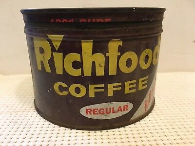 Antique 1 Lb Richland Coffee Can Tin With Lid Country Store Decor