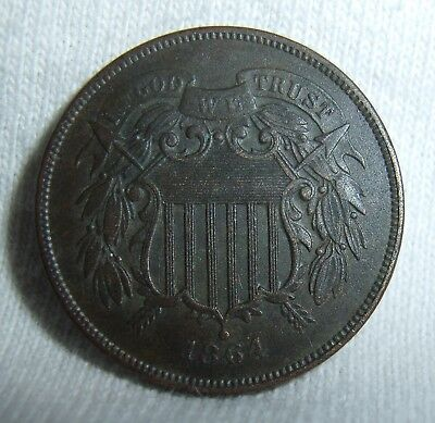 High Grade 1864 Two Cent Piece Civil War Date Strong Bold WE US Type Coin