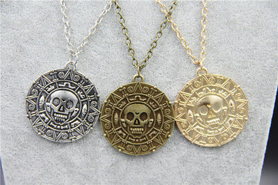 """Pirates Pirate Coin Medallion Pendant Necklace 20 to 22"""" chain. UK SELLER"""