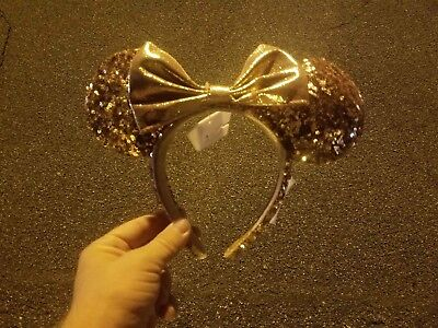 Disney Parks ROSE GOLD Champagne Minnie Mouse Bow Sequins Ear Headband IN HAND