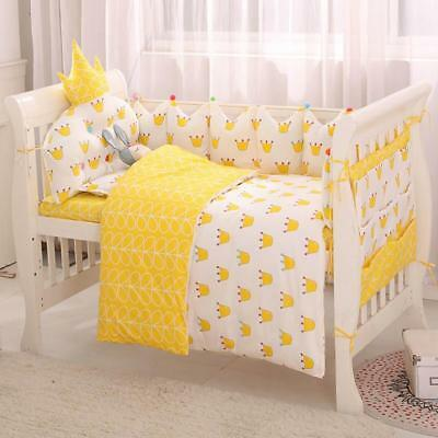Cute Duck Dot Pattern Crib Bedding Cotton Baby Bedding Set Protector Bumpers