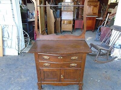 antique oak washstand with towel bar