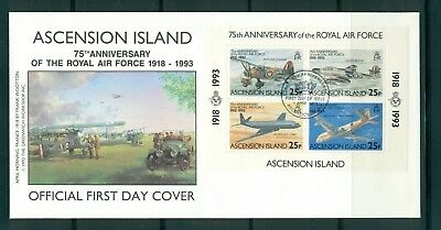 Ascension #557-61 (1993 RAF set and sheet) on unaddressed cachet FDC CV used $14