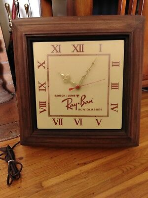 Vintage Ray-Ban Sunglasses Store Advertising Clock Lights Up Bausch & Lomb Look!