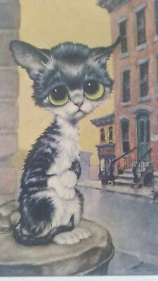 Vintage Retro Big Eyes Cat Framed Picture Wall Hanging Art 1970's