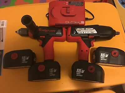 Snap On Tools 18 Volt Cordless 1/2 Impact And Drill Set Batteries 4pc Charger1pc