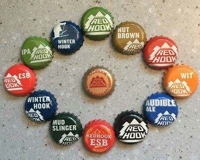13 Different Red Hook Brewery Beer Bottle Caps / Crowns - Seattle