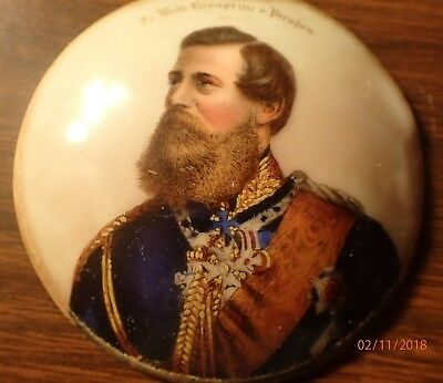 Antique 1880s Military Portrait on Porcelain Prussian Crown Prince Frederick III