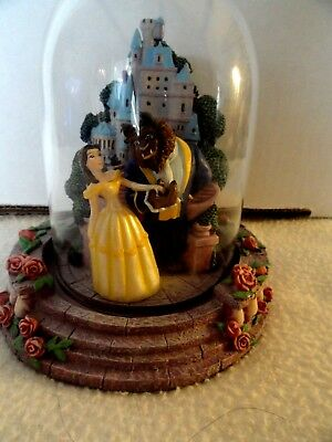 Vintage Disney Beauty & Beast with Castle and Maurice Domed Figurine
