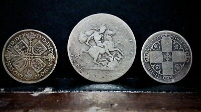 """silver-3 x GB old silver coins-georgius III-1819 to 1930""""s..."""