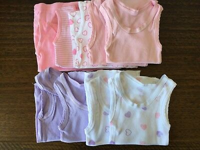 Baby Girl Singlets x 9 - Size 0000 - Purple, Pink & White - Excellent Condition!