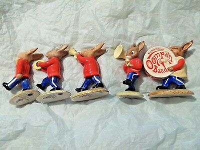 Rare Complete Bunnykins Oompah Marching Band Royal Doulton Figurines Rabbits