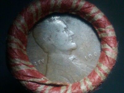 UNSEARCHED ROLL WHEAT PENNIES, 1909 both ends,1909-1929.Collectible roll.
