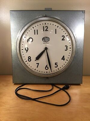"""Vintage 16"""" Auth Electric Co. Telechron Motor School Wall Clock - Tested & Works"""