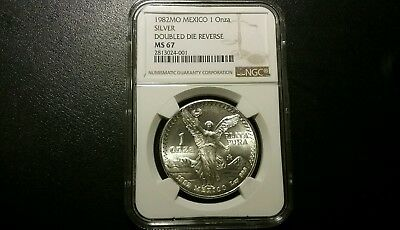 Ngc Graded Ms67  1982 Double Die Reverse Silver Libertad
