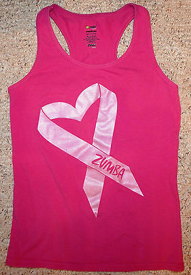 Zumba Fitness Women's Party in Pink Breast Cancer Tank Top size M