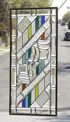 "•BOGGIE•Beveled Stained Glass Window Panel • 31 ½""x16 ½""(80x41cm)"