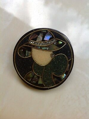 Brooch- round resin Lady with paua inlay Hat