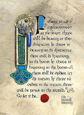 "Celtic Card Company MATTED PRINT 10"" x 8"" Olde Scottish Blessing Righteousness"