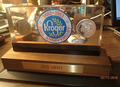 Kroger Employee 100th Anniversary Lucite Plaque w 2 Silver Dollars, 1883 & 1983
