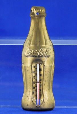 1950's Coca Cola Gold Tone Bottle Wall Thermometer