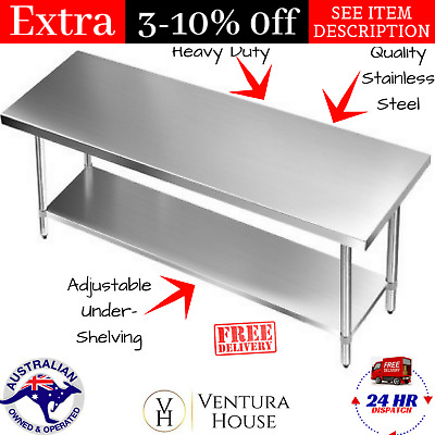 Commercial 430 Stainless Steel Kitchen Work Bench Table Catering Food Workbench