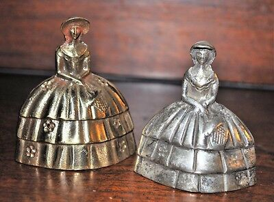 Two Vintage Antique Cast Brass Bells Metal Victorian Lady Figurine Collectible