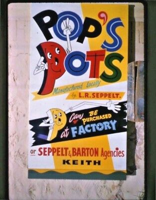 """1950's 35 Mm Colour Sign Board """"pop's Pots"""" L.r.seppelt Keith & Adelaide Sa B48"""