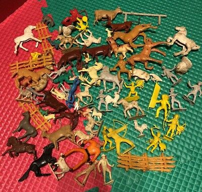 Vintage Lot Plastic Rubber Animals Farm Western Indians Cowboys People Rodeo