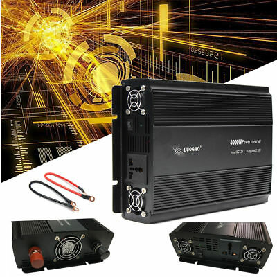 US 2000W 4000W Car Truck High Power Inverter DC12V to AC110V Charger Converter