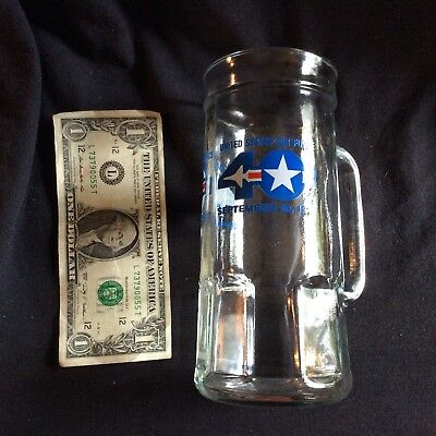Fisher Peanut Co US Airforce clear glass mug- 7 inch tall, 1lb2oz weight- mint