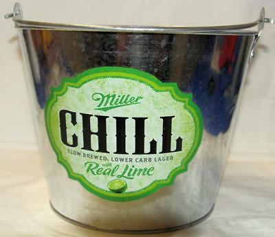 Collectible Miller Chill With Real Lime Metal Handled Ice Bucket - New