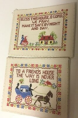 2 x Gorgeous Vintage Hand embroidered Fabric Friends Bless This House