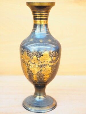 Vintage Old Large Size Brass Decorated Flower Vase, (H778)