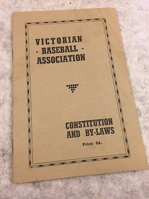 1940s Victorian Baseball Association Constitution & By-Laws Booklet