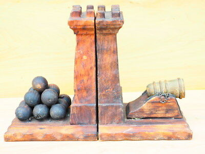 Vintage, Large Timber Knights Castle, Cannon, Cannon Ball Book Ends Set (H881)