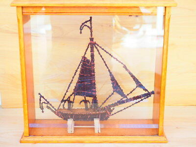 Old Cased Tall Ship, Boat Made From Cloves, Old Model Ship In Case (H897)
