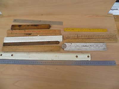 Vintage Old Large Lot Of Mixed Workshop Rulers Tools Lot (E669)