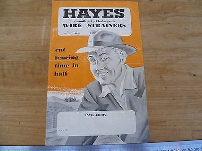 Vintage Old Hayes Wire Strainers, Fencing Tool, Advertising Brochure (D341)
